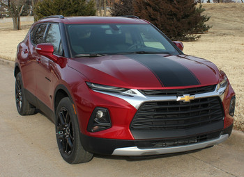 front angle of HOT STREAK HOOD | 2019-2020 Chevy Blazer Hood Stripe Kit