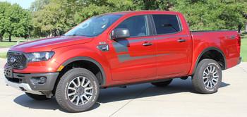 side of 2020 Ford Ranger Door Side Stripes STRIKER SIDE KIT 2019-2021