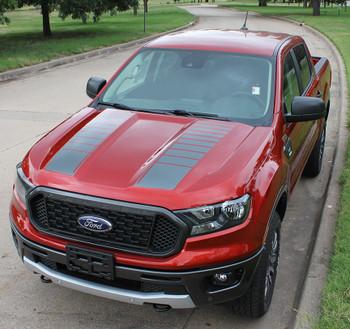 front of 2020 Ford Ranger Strobe Hood Stripes NOMAD HOOD 2019-2021