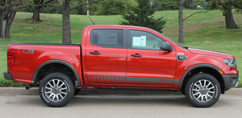 side of red 2019 Ford Ranger Side Rocker Stripes NOMAD ROCKER 2019 2020 2021
