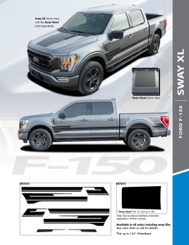 info for 2021 Ford F150 Truck Hood Stripes SWAY HOOD 2021+
