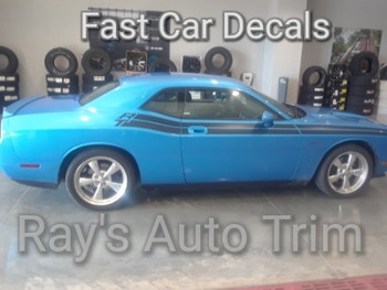 side of blue 2011-2021 Dodge Challenger R/T Side Stripes DUEL 11 with RT name