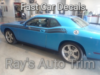 side angle of blue 2011-2021 Dodge Challenger R/T Side Stripes DUEL 11 with RT name