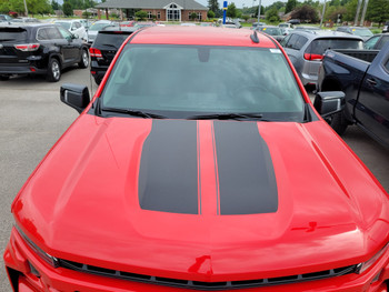 top view of red 2019 2020 2021 2022 Chevy Silverado Racing Stripes BOW RALLY
