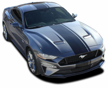 front angle of EURO RALLY XL | Ford Mustang Racing Stripes Center Wide Offset Decals
