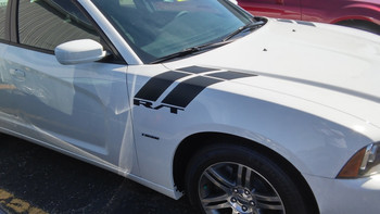 side of white 2018 Dodge Charger Fender Stripes DOUBLE BAR 2011-2018 2019