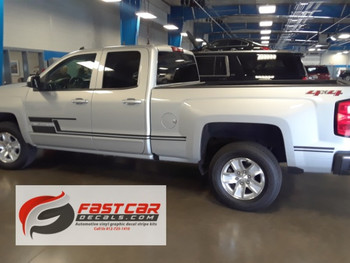 side of silver NEW! Trail Boss Z71 Chevy Silverado Side Stripes SHADOW 2013-2018