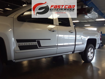 side angle of silver NEW! Trail Boss Z71 Chevy Silverado Side Stripes SHADOW 2013-2018