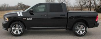 profile of Dodge Ram Hood Hashmarks Stripes RAM DOUBLE BAR 2009-2018