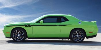 side of green Dodge Challenger Side Decal Stripes FURY 2011-2018 2019 2020 2021