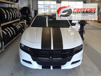 front of white 2018 Dodge Charger Racing Stripes N-CHARGE 15 2015-2021