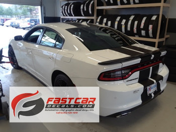 rear angle of 2018 Dodge Charger Racing Stripes N-CHARGE 15 2015-2018 2019