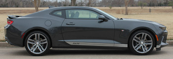 side of black 2018 Chevy Camaro Side Door Decals SKID ROCKER 2016 2017 2018