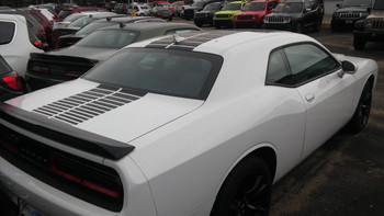 rear of white Dodge Challenger Blacktop Stripes PULSE RALLY 2015-2019