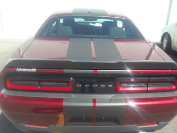 rear of red 2018 Dodge Challenger Rally Stripes 15 CHALLENGE RALLY 2015-2021