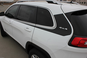 rear of white 2017 Jeep Cherokee Body Graphics WARRIOR 2014-2021