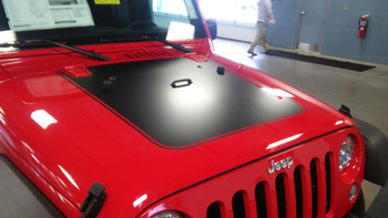 front of red Jeep Wrangler Hood Decal Graphics OUTFITTER 3M 2008-2018