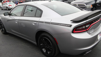 side of grey 2016 Dodge Charger Hood and Side Stripes RIVE 2015-2021