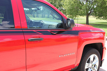 door stripes on red 2016 Chevy Silverado Side Graphics ACCELERATOR