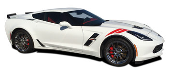 side of white Chevy Corvette Fender Stripes C7 HASHMARK 2014-2017 2018 2019