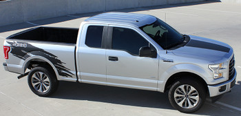 side of silver Vinyl Side Graphics for Ford F150 TORN 2015 2016 2017 2018  2019