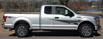 side of silver Ford F150 Side Door Stripes APOLLO 2015 2016 2017 2018 2019 2020