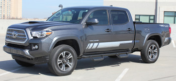 front angle of Toyota Tacoma Side Stripe Decals CORE 2015 2016 2017 2018 2019