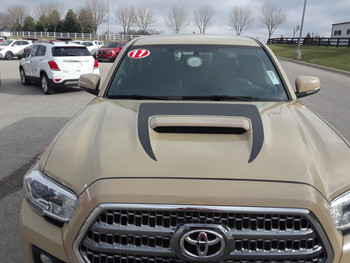 hood close up Toyota Tacoma Hood Stripe SPORT HOOD 3M 2015-2018 2019