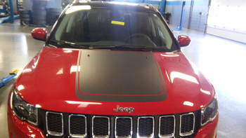 front of red Factory Style! Jeep Compass Hood Stripes BEARING HOOD 2017-2020