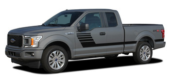 side of 2018 Ford F150 Side Stripes LEAD FOOT 2015-2020