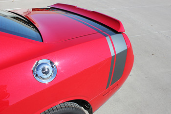 back view of NEW! Scat Pack, Hellcat style Dodge Challenger Stripes 2015-2021