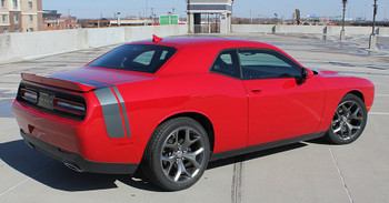 rear angle of NEW! Scat Pack, Hellcat style Dodge Challenger Stripes 2015-2021