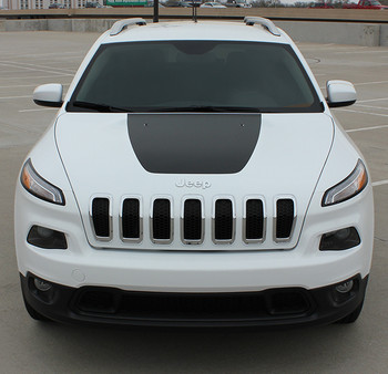 front of 2017 Jeep Cherokee Hood Decals T-HAWK 2013-2018 2019 2020