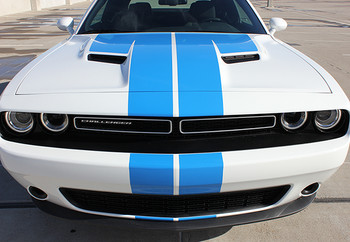 front of 2017 Dodge Challenger Racing Stripes WING RALLY 2015-2020