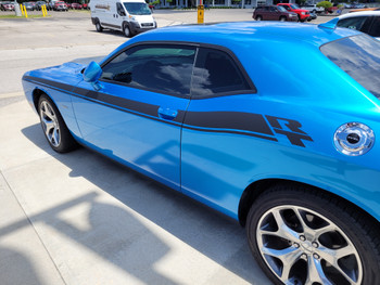 side angle of blue Hellcat, Scat Pack Dodge Challenger RT Stripes DUEL 15 2015-2021