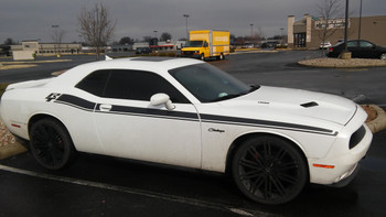 profile of white Hellcat, Scat Pack Dodge Challenger RT Stripes DUEL 15 2015-2021
