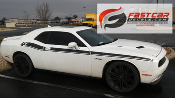 front side view of HOT! Shaker, RT, Scat Pack Dodge Challenger Side Stripes 2015-2021