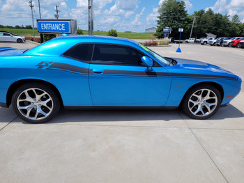 side of blue Dodge Challenger RT With Stripes DUEL 15 2015-2018 2019 2020 2021