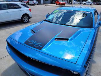 front of blue Dodge Challenger RT Hood Decals CHALLENGE HOOD 2015-2021