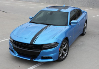 front of blue 2016 Dodge Charger Euro Stripes E RALLY 2015-2017 2018 2019 2020
