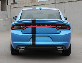 rear of blue 2016 Dodge Charger Euro Stripes E RALLY 2015-2017 2018 2019 2020
