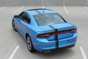 rear angle of blue 2017 Dodge Charger Euro Decals E RALLY 15 2015-2017 2018 2019 2020