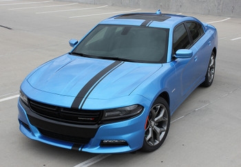 front of blue 2017 Dodge Charger Euro Decals E RALLY 15 2015-2017 2018 2019 2020