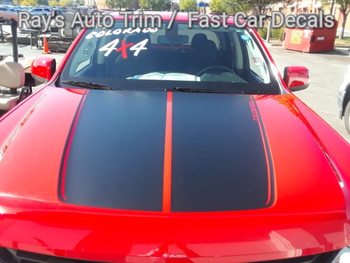 front of red Chevy Colorado Hood Decals SUMMIT HOOD 2015-2020
