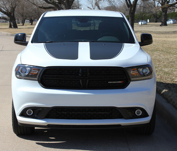 front of white 2018 Dodge Durango Hood Stripes PROPEL HOOD 2011-2018 2019