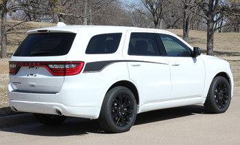 rear angle of white Dodge Durango Side Decals PROPEL SIDE 2011-2020