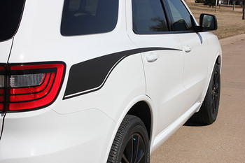 close up of white Dodge Durango Side Decals PROPEL SIDE 2011-2020