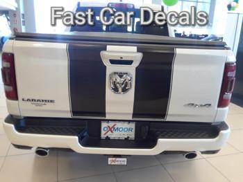 rear of white 2019 2020 2021 2022 Ram 1500 Racing Stripes RAM RALLY