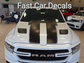 hood of white RAM STRONG! New 1500 Ram Truck Stripes RAM RALLY 2019 2020