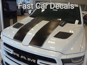 front angle of white 2019 Dodge Ram 1500 Rally Stripes RAM RALLY 2019 2020